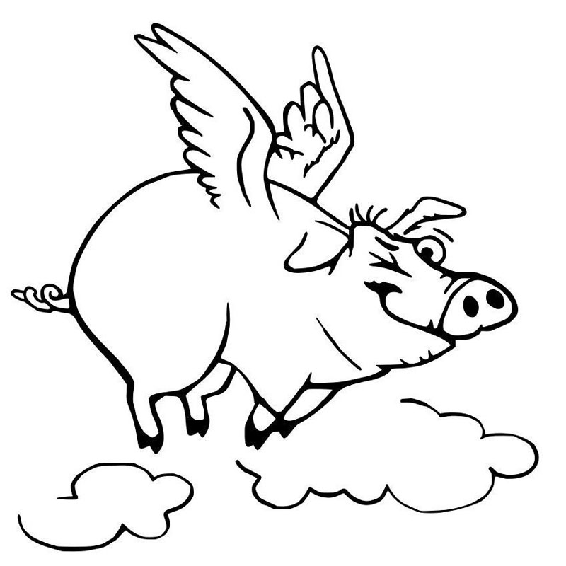 Flying Winking Pig Vinyl Car Sticker Decal